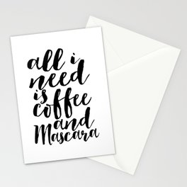 All I Need Is Coffee And Mascara Funny Wall Art Girl Room Decor Mascara Quote Coffee Quote Study Stationery Cards