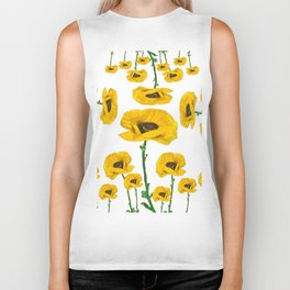 YELLOW POPPIES FLOWER ON WHITE Biker Tank