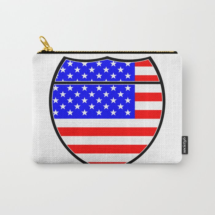 Stars And Stripes Flag In An Interstate Sign Carry-All Pouch
