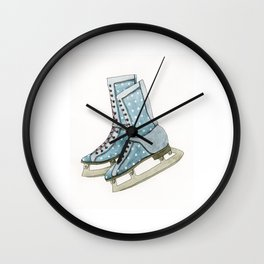 Polka dot ice skates Wall Clock