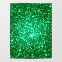 Emerald Green Glitter Stars Poster