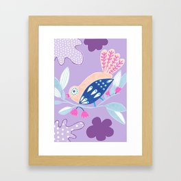 Kids collection - birds in a garden paradise Framed Art Print