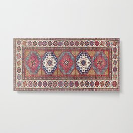 Shahsavan Azerbaijan Antique Tribal Persian Rug Metal Print