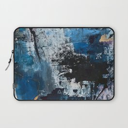 Breathe: colorful abstract in black, blue, purple, gold and white Laptop Sleeve