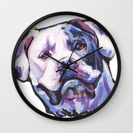 American Bulldog Portrait Dog bright colorful Pop Art by LEA Wall Clock