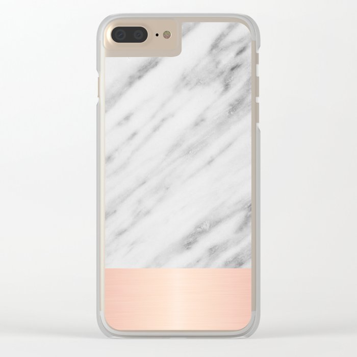 Real Italian Marble and Pink Clear iPhone Case
