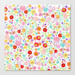 Colorful Floral Doodle Pattern in Bright Multicolor Canvas Print