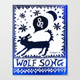 Wolf Song Rev Blue Canvas Print