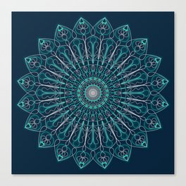 Glowing turquoise pink mandala. Yoga theme Canvas Print