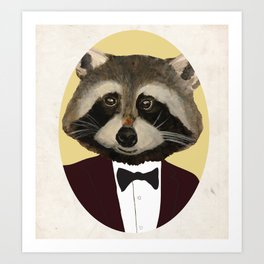 Sophisticated Raccoon Art Print