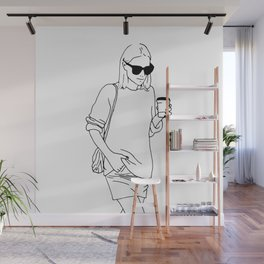 Woman with Coffee Wall Mural
