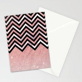 Modern black rose pink glitter lavender marble chevron Stationery Cards