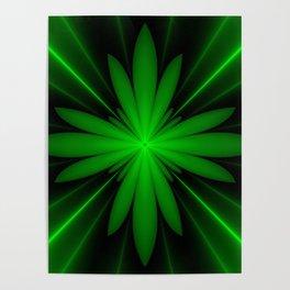 Neon Green Flower Fractal Poster