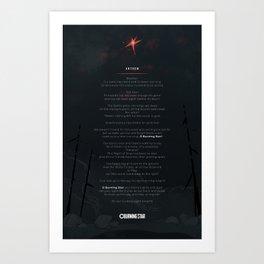 Anthem for O Burning Star Art Print