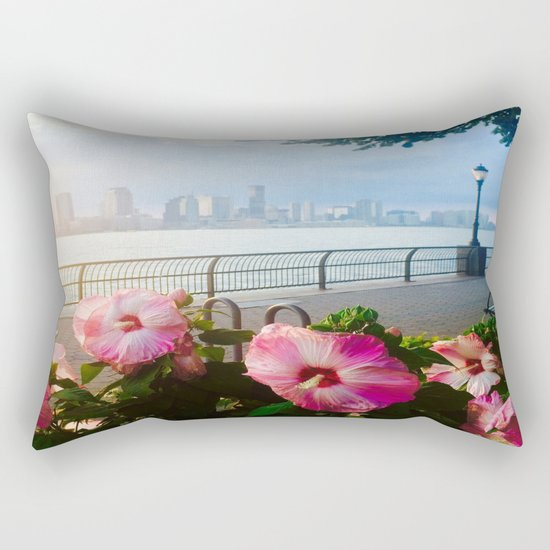 Battery Park New York City Skyline with Pink Hibiscus Flowers Rectangular Pillow