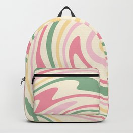 70s retro swirl romantic pastel abstract Backpack