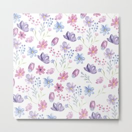 Elegant pink lavender blue watercolor modern floral Metal Print