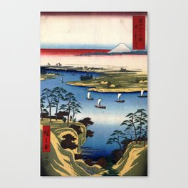 Wild Goose Hill and the Tone River by Hiroshige Canvas Print