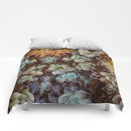 Rosette succulents art Comforters