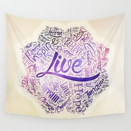 Inspirational Motivational Word Cloud Art in Lotus Wall Tapestry