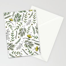 Yellow Floral Print 1 Stationery Cards