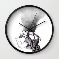lip Wall Clocks featuring lip girl by 2headedsnake