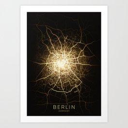 berlin germany city night light map Art Print