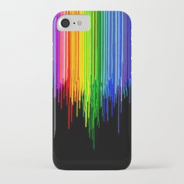 Rainbow Paint Drops on Black iPhone Case