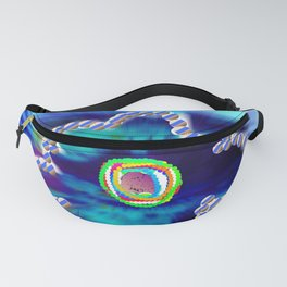 Blue and line flower Fanny Pack