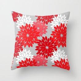Modern Floral Kimono Print, Coral Red and Gray Throw Pillow