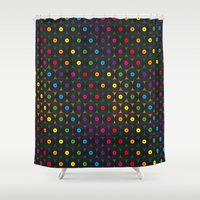 records Shower Curtains featuring disco records by kociara