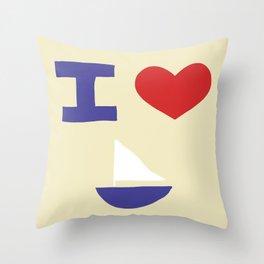 I Heart Sailing Throw Pillow