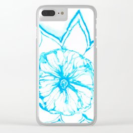 Blue Sunflower Clear iPhone Case