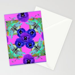 PURPLE PANSIES & BLUE-GREEN DRAGONFLIES ABSTRACT Stationery Cards