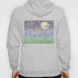 luna moths around the moon with starlit irises Hoody