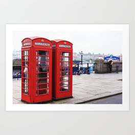 Old English Phone Boxes Art Print