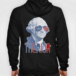 Merica George Washington graphic Patriotic 4th of July prints Hoody