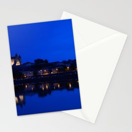 Panorama of Saumur at night , France. Stationery Cards