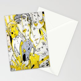 yellow people Stationery Cards