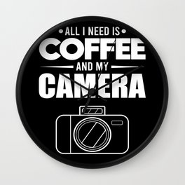Photographer Coffee Lover Photography Camera Gift Wall Clock