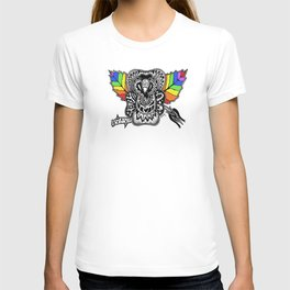 PRIDE black white rainbow Rose T-shirt