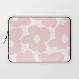 Large Baby Pink Retro Flowers on White Background #decor #society6 #buyart Laptop Sleeve