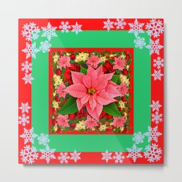 DECORATIVE SNOWFLAKES RED & PINK POINSETTIAS CHRISTMAS ART Metal Print