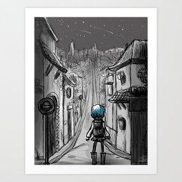 Uphill road Art Print