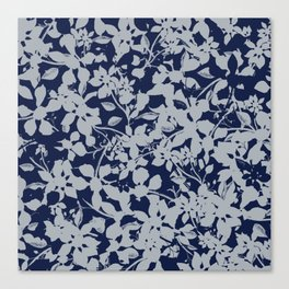 Blue and Grey Floral Pattern - Broken but Flourishing Canvas Print
