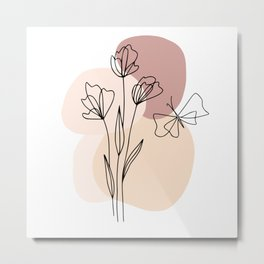 Minimal Line Art Flowers And Butterfly Metal Print