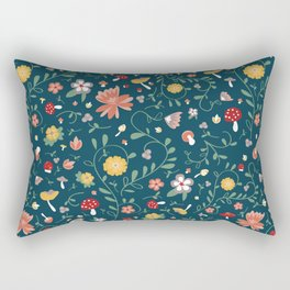 Delicate Mushroom and Floral Kitchen Print Rectangular Pillow
