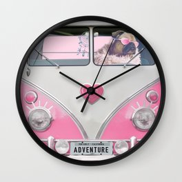 Pug Girly Adventure Wall Clock