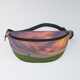 Natural Beauty - Sunlight Illuminates Clouds on Spring Evening in Oklahoma Fanny Pack