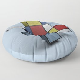 Composition with Red Blue and Yellow Floor Pillow